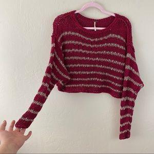 Free People Red Tan Crochet Knitted Stripe Sweater
